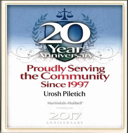 20yrs of Service - Urosh Piletich